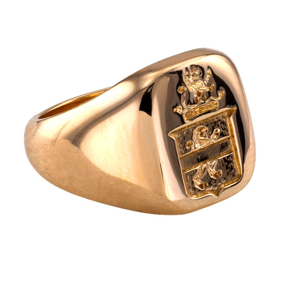 Tiffany And Co Crest Gold Signet Ring At 1stdibs