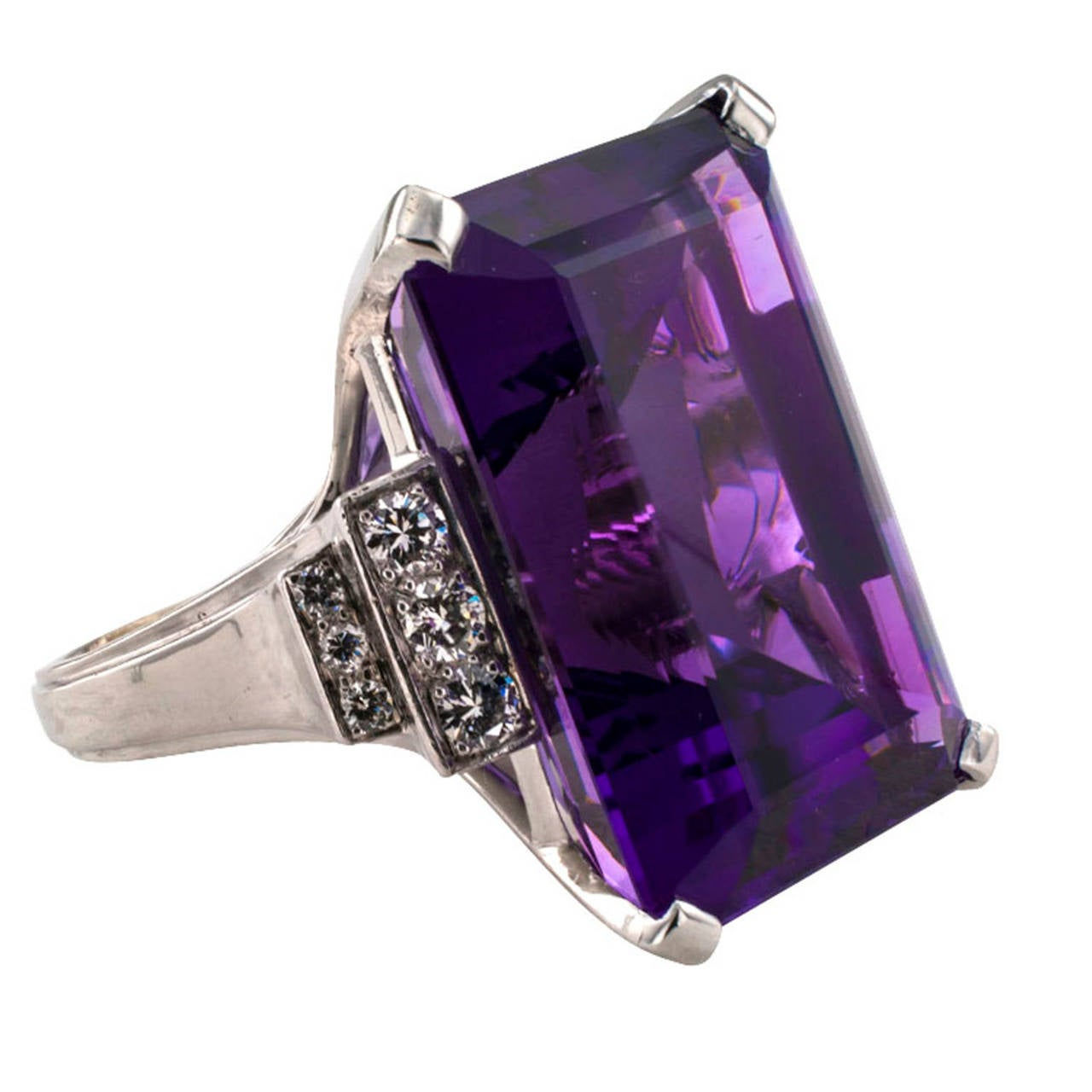 amethyst platinum cocktail ring at 1stdibs