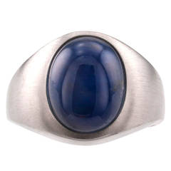 Blue Star Sapphire Gold Ring