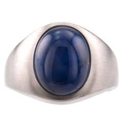 Gentleman's Blue Star Sapphire Gold Ring