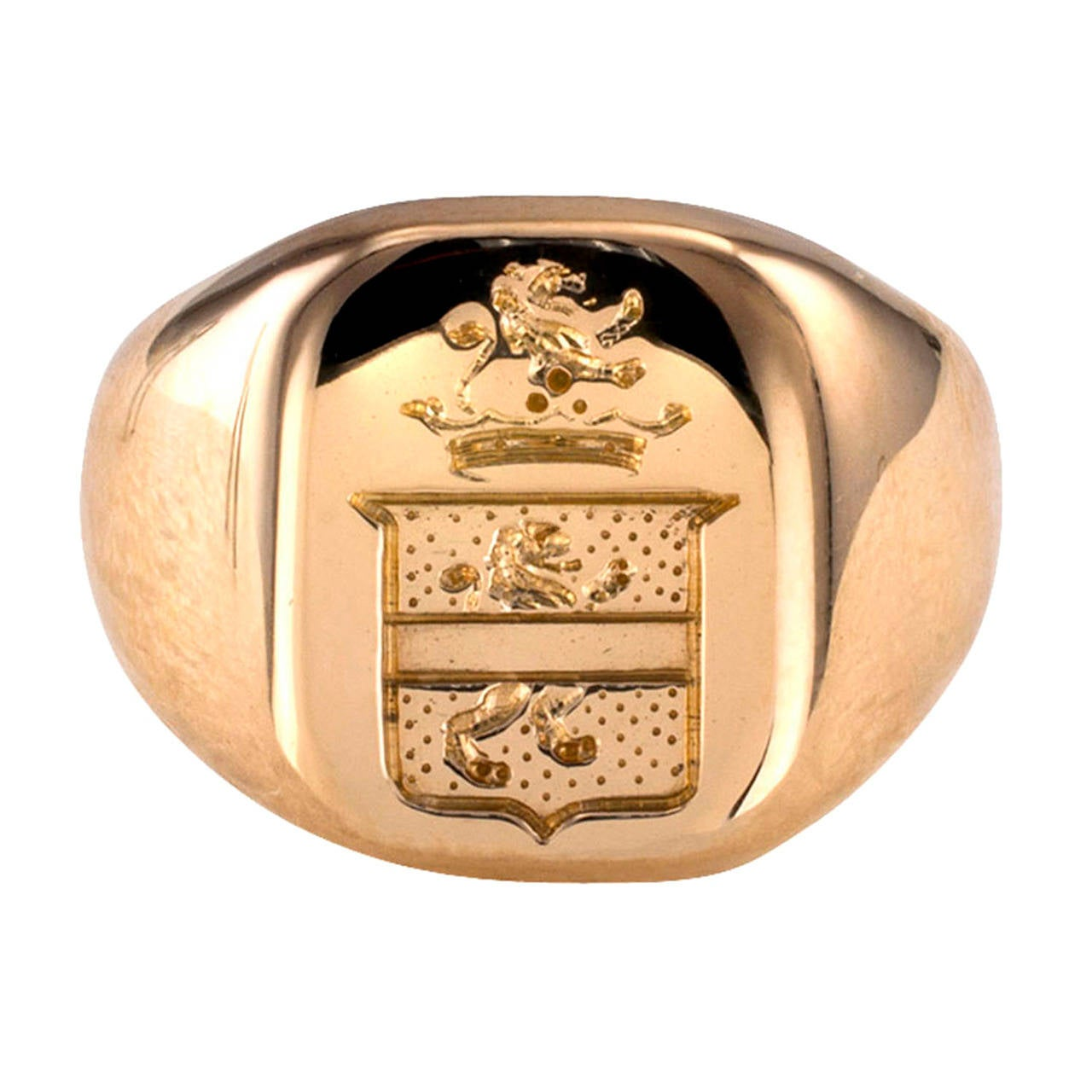 335054063 Tiffany and Co. Crest Gold Signet Ring at 1stdibs