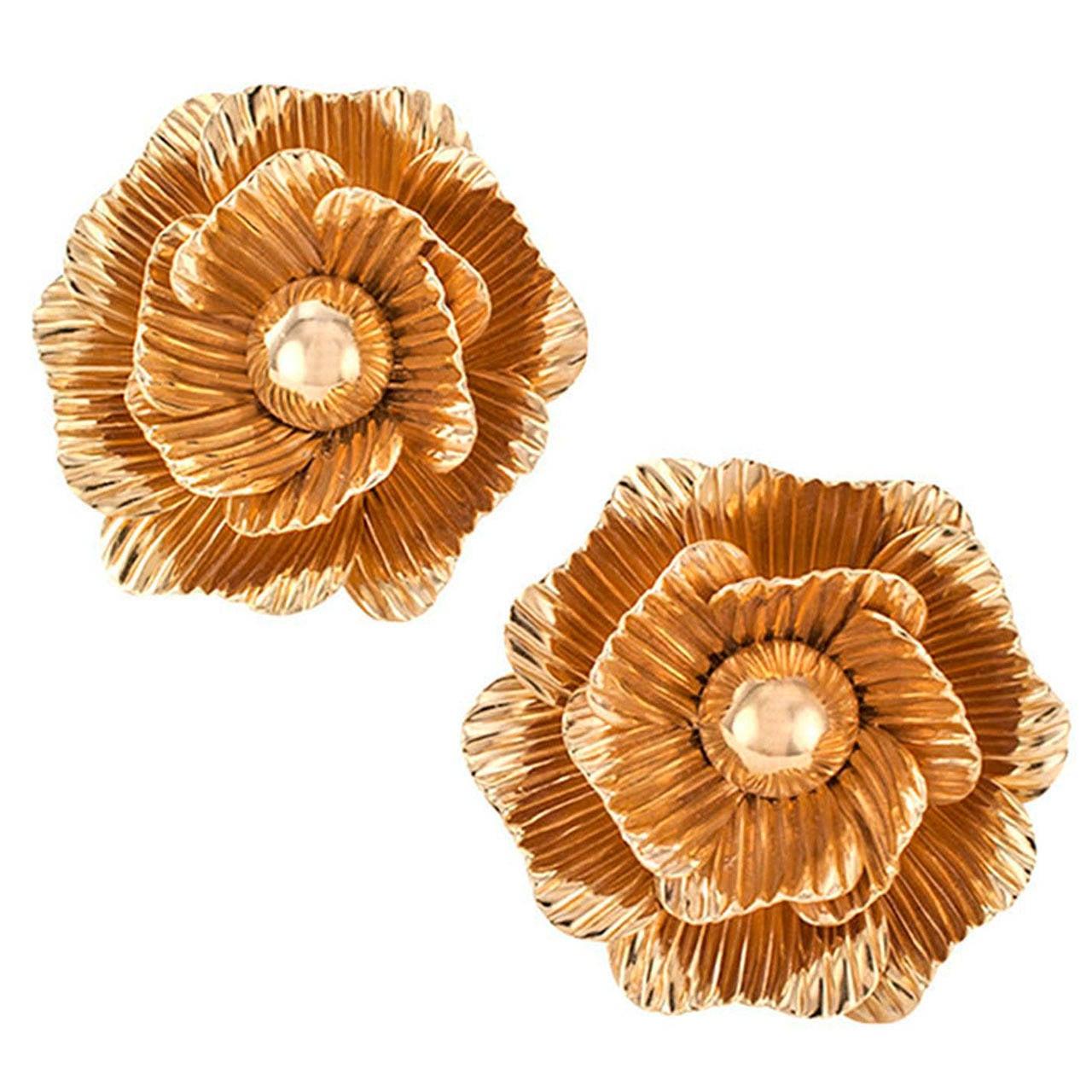 Camellia Gold Flower Ear Clips