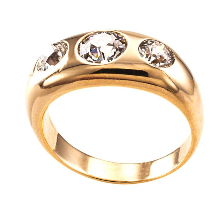 ThreeStone Diamond Gold Gypsy Ring at 1stdibs