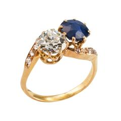Victorian Sapphire Diamond Gold Toi et Moi  Engagement Ring