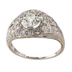 1.03 Carat Art Deco Diamond Platinum Engagement Ring