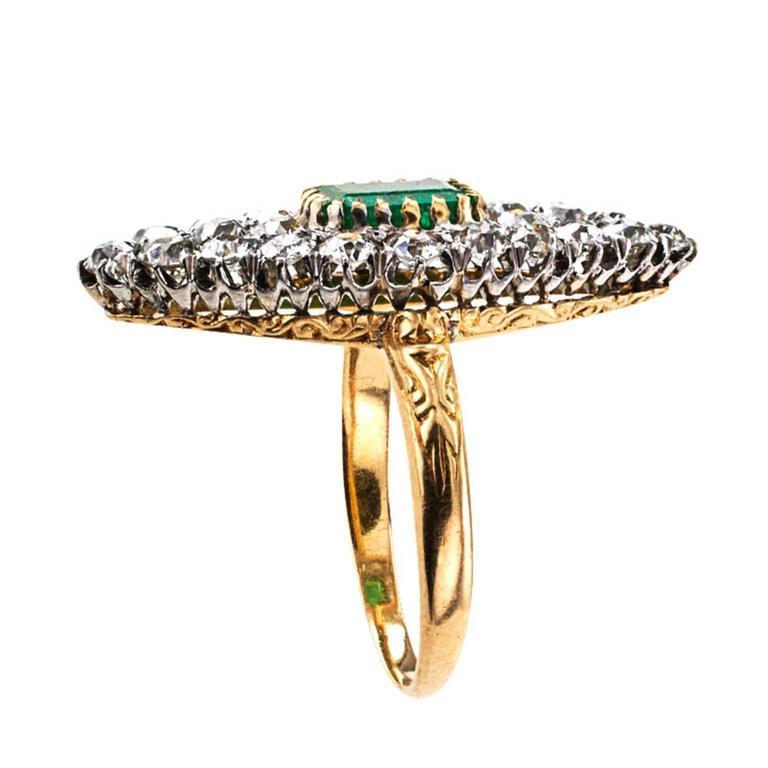 Emerald Cut Edwardian Emerald Diamond Gold Platinum Ring For Sale