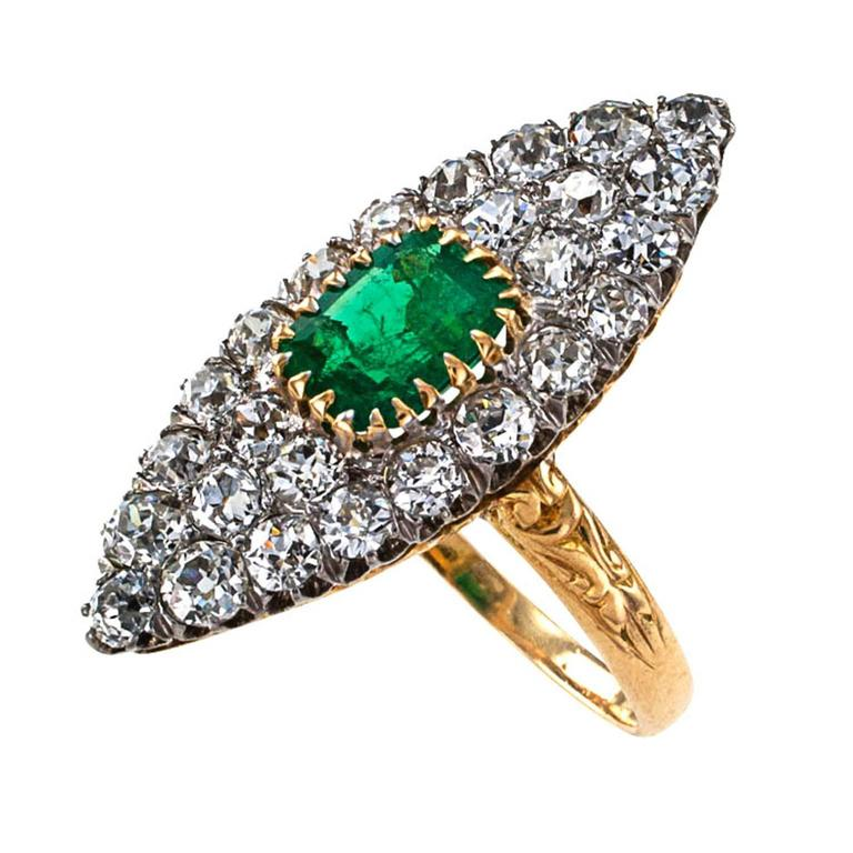 Edwardian Emerald Diamond Gold Platinum Ring In Excellent Condition For Sale In Los Angeles, CA