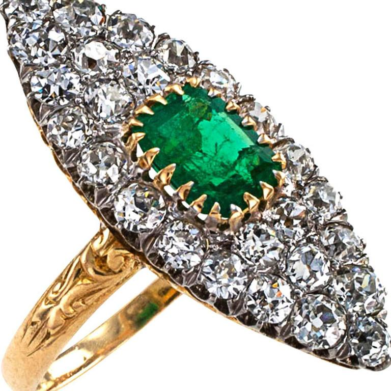 Women's or Men's Edwardian Emerald Diamond Gold Platinum Ring For Sale