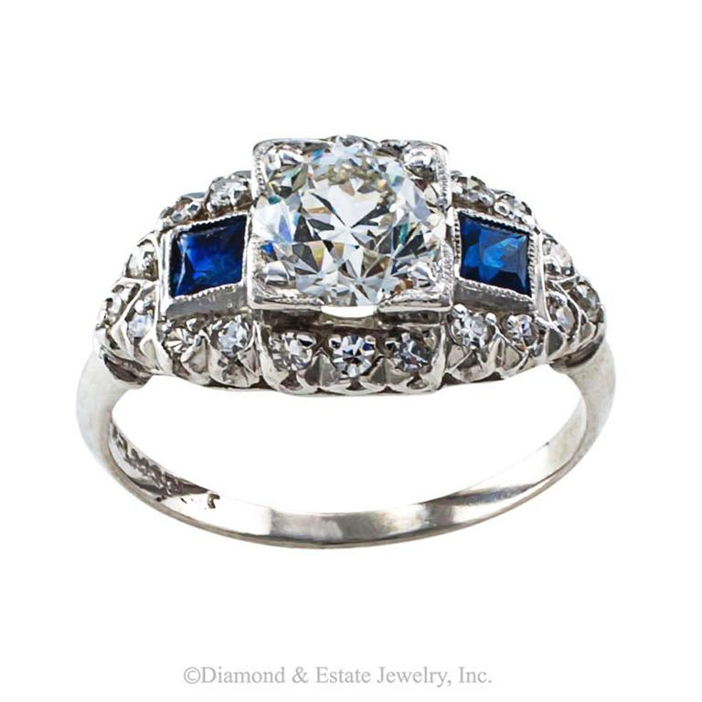 Art Deco Sapphire Diamond Platinum Engagement Ring 2