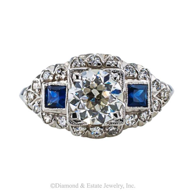 Art Deco Sapphire Diamond Platinum Engagement Ring 3
