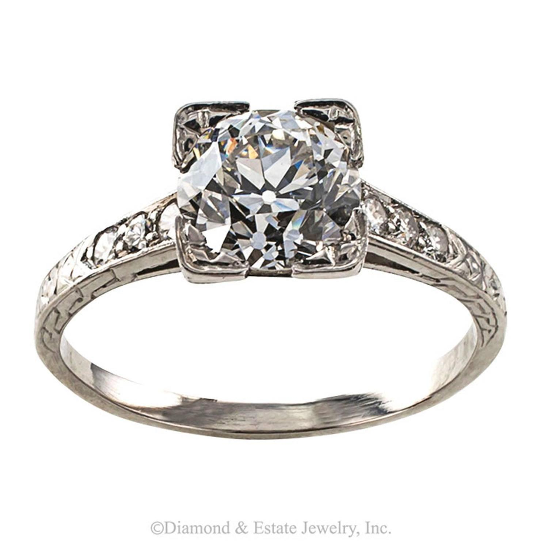 1920s deco 1 39 carat platinum engagement ring for sale at 1stdibs