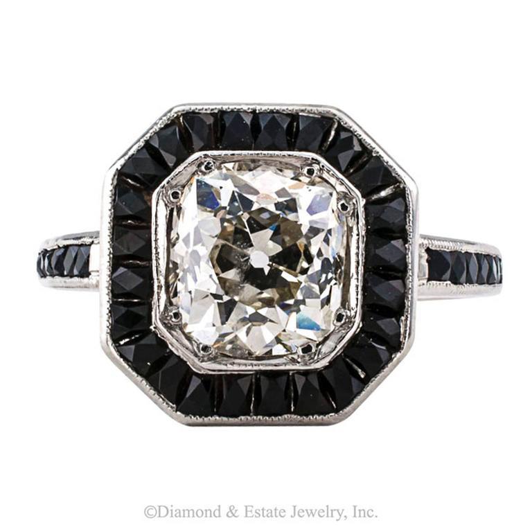 1 85 carats mine cushion cut black onyx