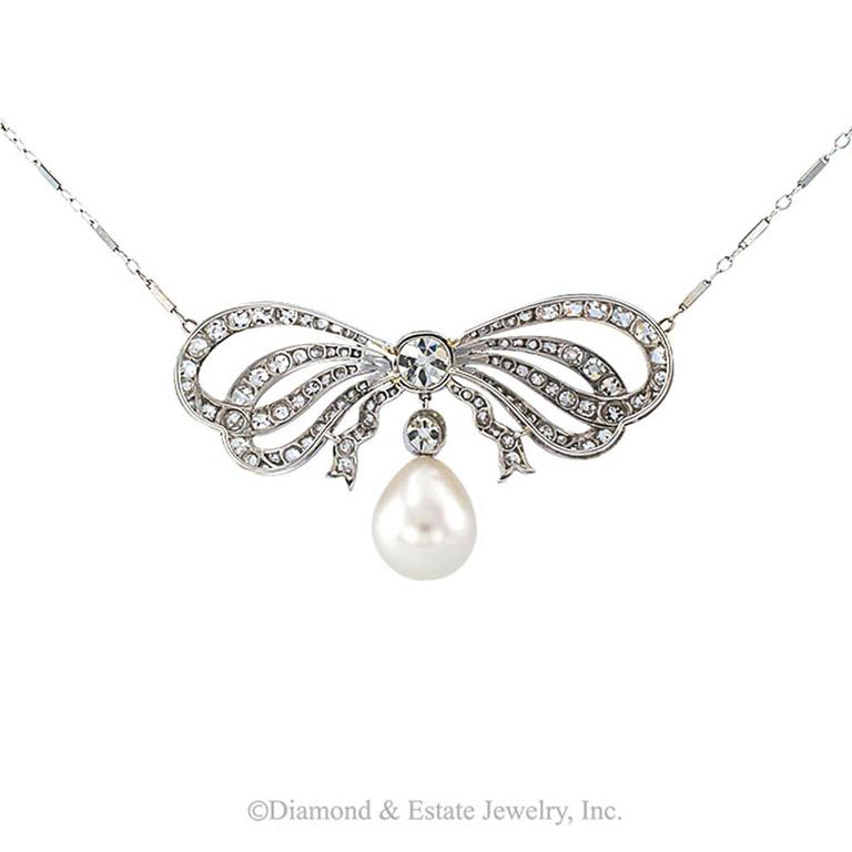 Edwardian South Sea Pearl Diamond Gold Bow Necklace 3