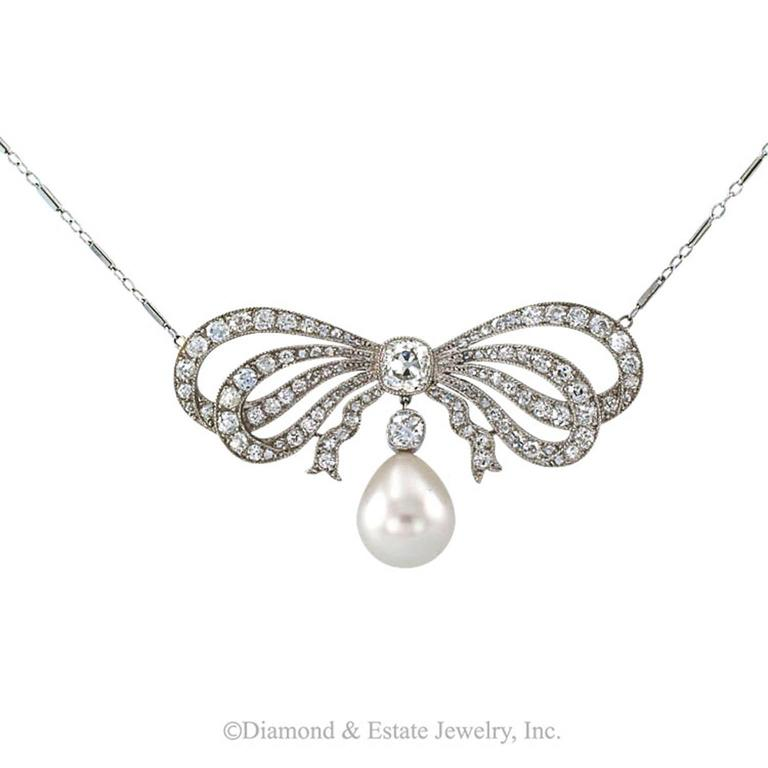 Edwardian South Sea Pearl Diamond Gold Bow Necklace 2