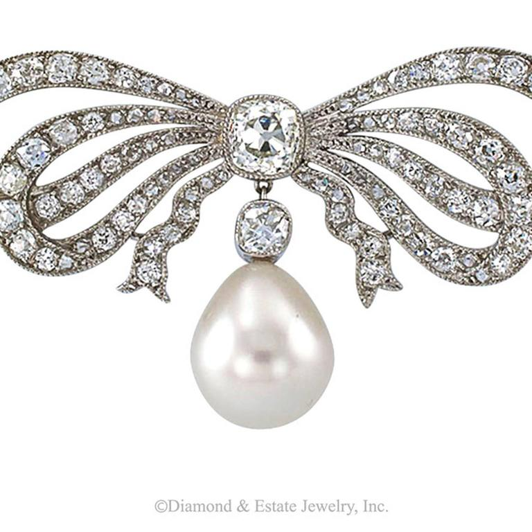 Edwardian South Sea Pearl Diamond Gold Bow Necklace 5