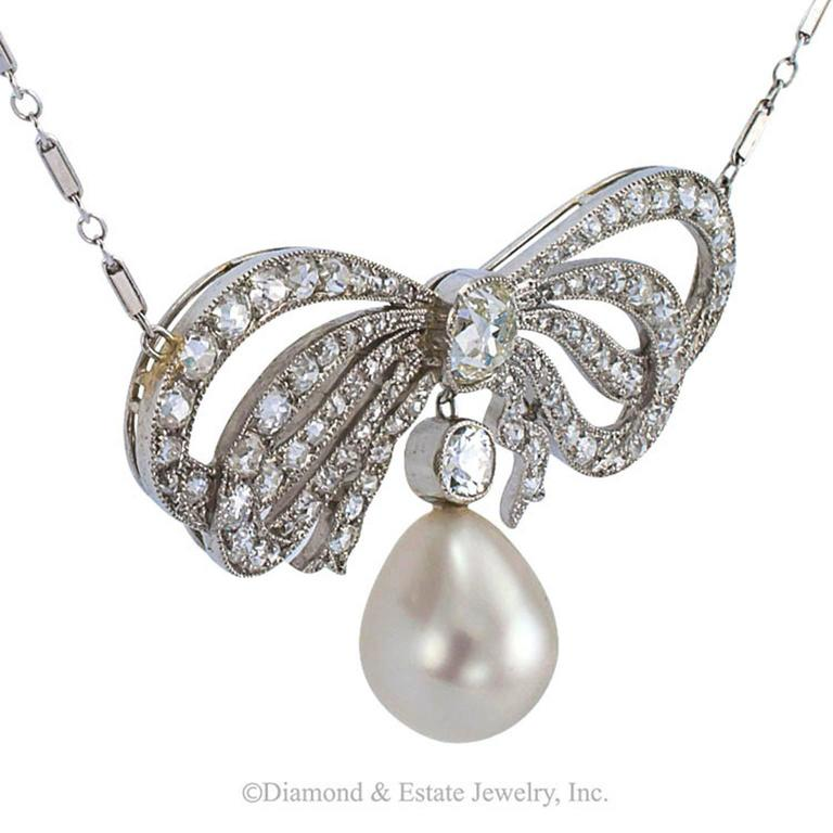 Edwardian South Sea Pearl Diamond Gold Bow Necklace 4