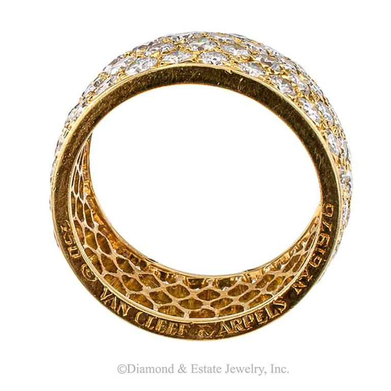 Van Cleef and Arpels 4 Carats Diamond Gold Eternity Ring For Sale