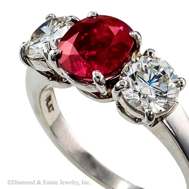 Unheated Burma Ruby Diamond Platinum Three-Stone Ring 6