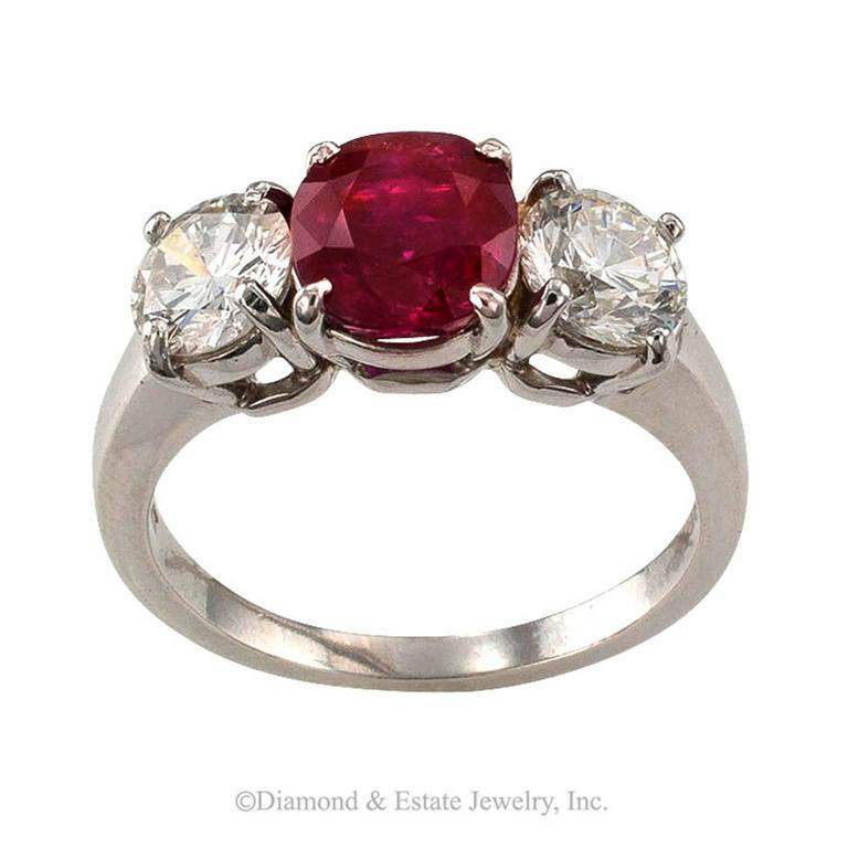 Unheated Burma Ruby Diamond Platinum Three-Stone Ring 3
