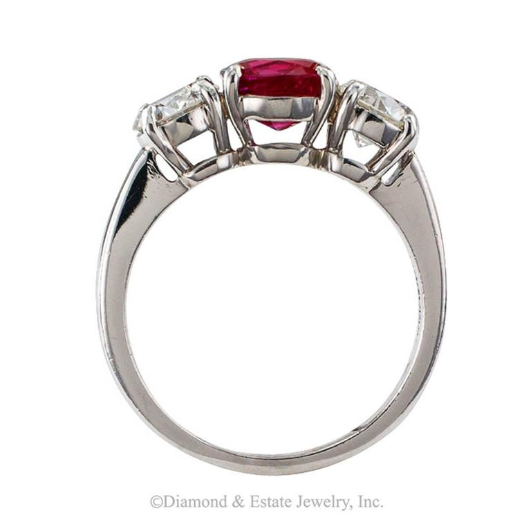 Unheated Burma Ruby Diamond Platinum Three-Stone Ring 5
