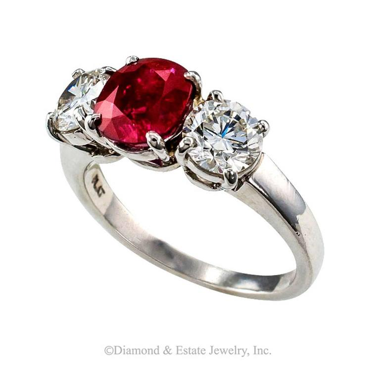 Unheated Burma Ruby Diamond Platinum Three-Stone Ring 2