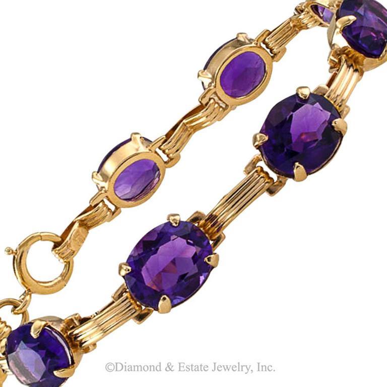 Mid-Century Amethyst Gold Line Bracelet 3