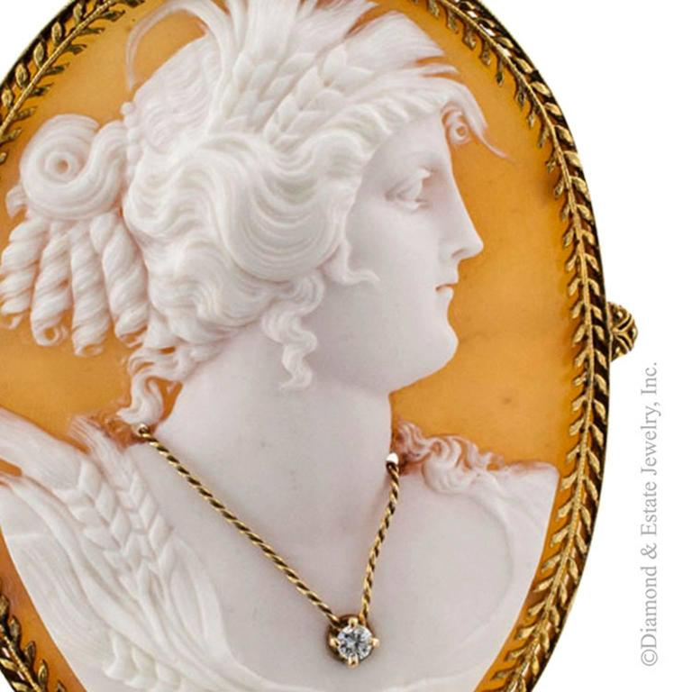 Victorian Shell and Diamond Cameo Brooch Pendant In Excellent Condition For Sale In Los Angeles, CA