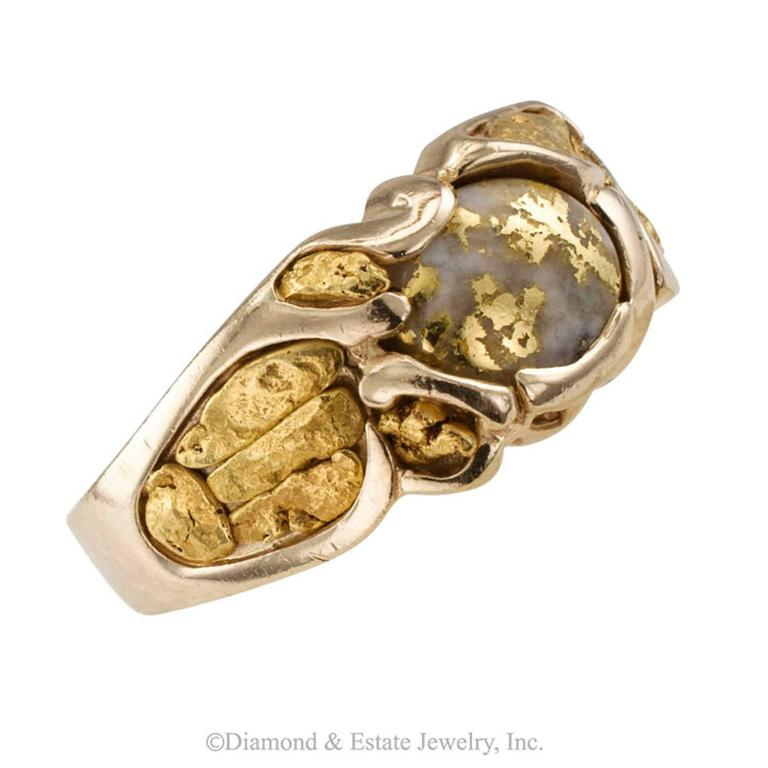 Modern Gold Quartz and Gold Nugget Ring
