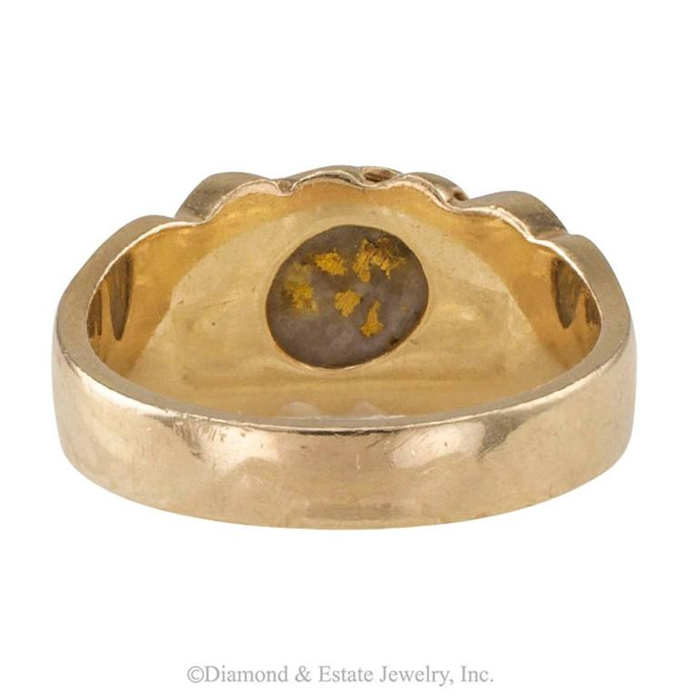 Women's or Men's Gold Quartz and Gold Nugget Ring