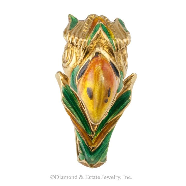 1970s Enamel and 18-Karat Gold Parrot Ring