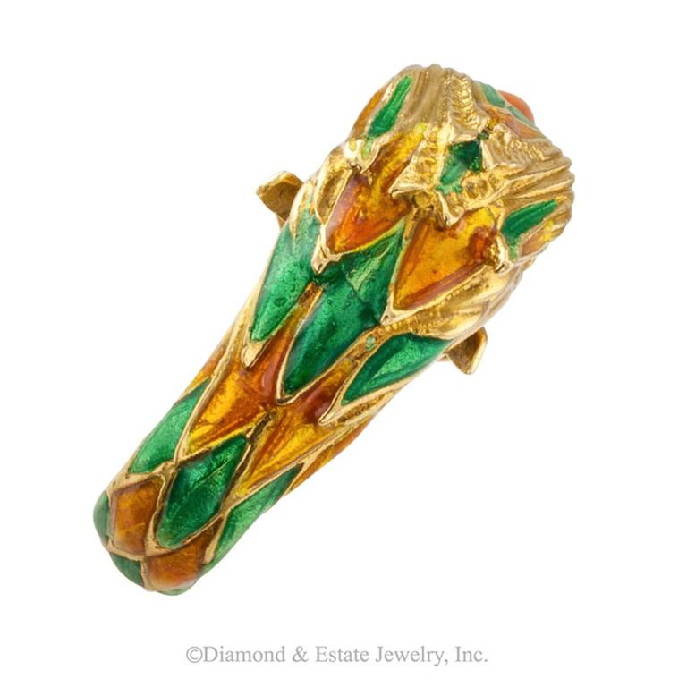 Modern 1970s Enamel and Gold Parrot Ring For Sale