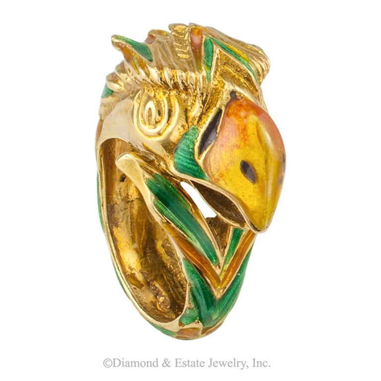 Women's or Men's 1970s Enamel and Gold Parrot Ring For Sale