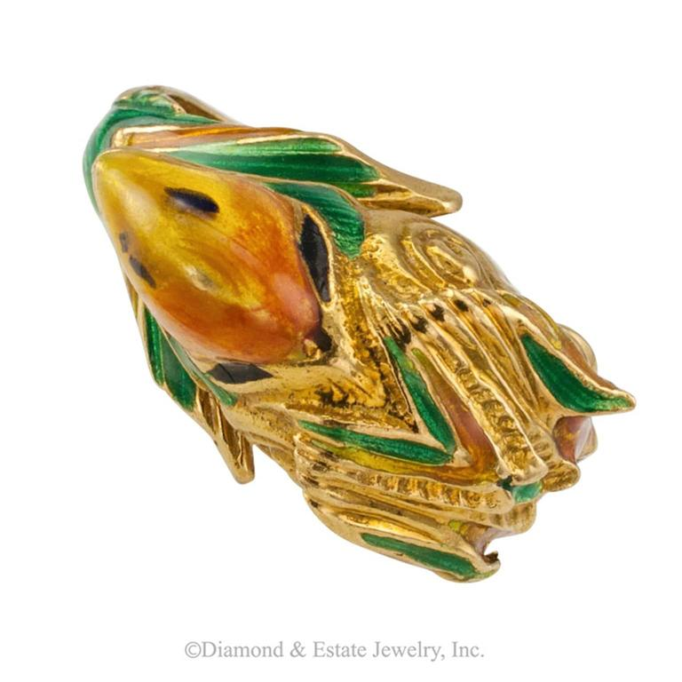 1970s Enamel and Gold Parrot Ring 7