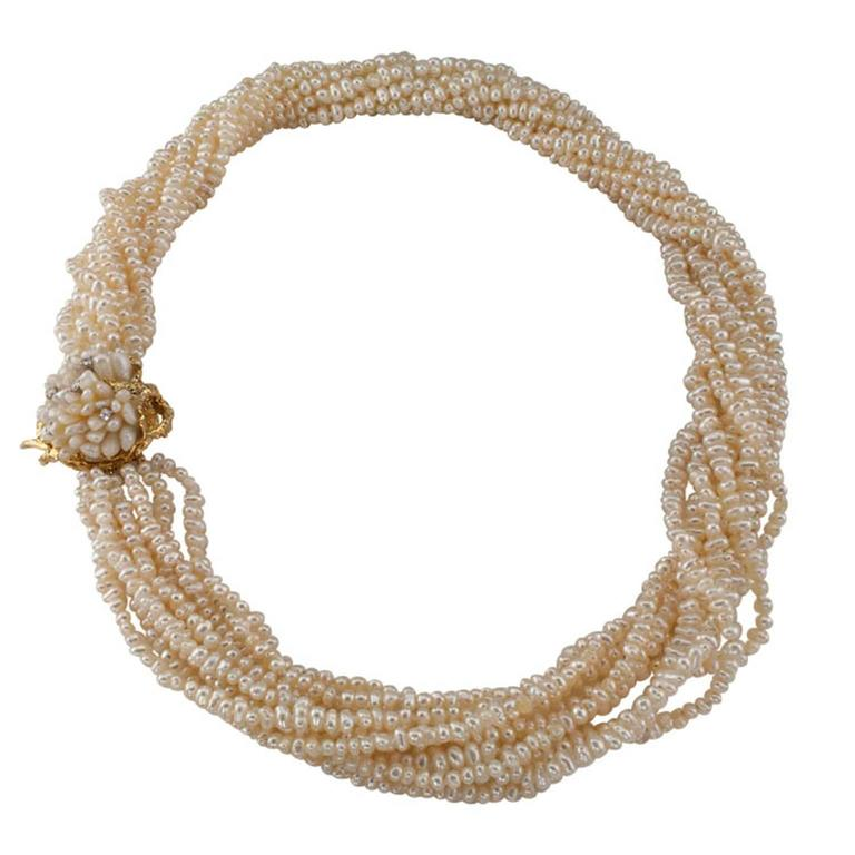 1970s Biwa Pearl Diamond Gold Torsade Necklace