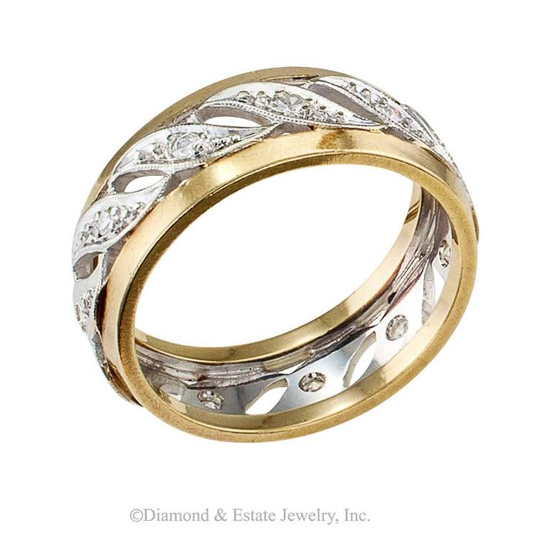 1940s Two Color Gold Diamond Wedding Band Ring For Sale At