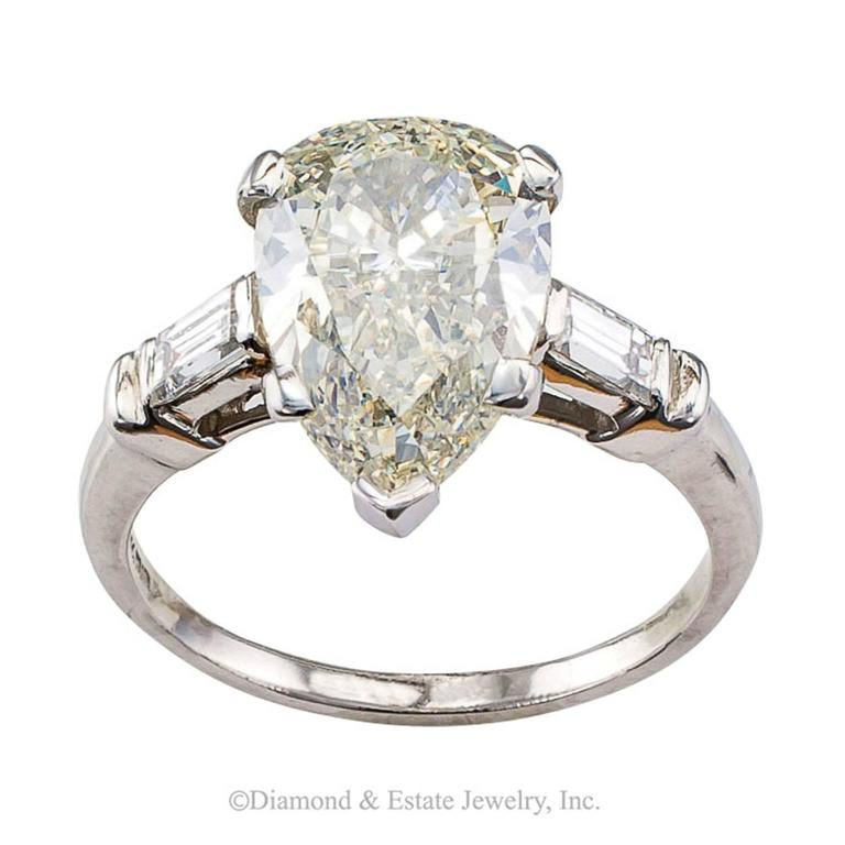 3 27 Carats Pear Shaped Diamond Solitaire Ring at 1stdibs