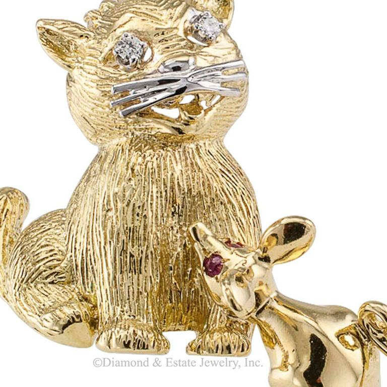Contemporary 1960s Cat and Mouse Diamond Ruby Gold Brooch For Sale