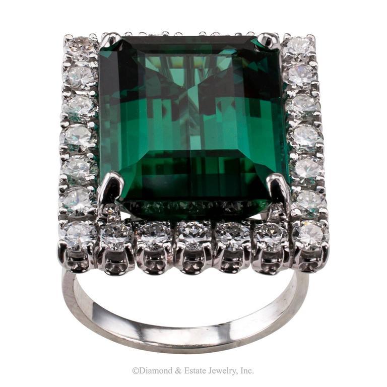 1960s Emerald Cut Blue Green Tourmaline Diamond Cocktail