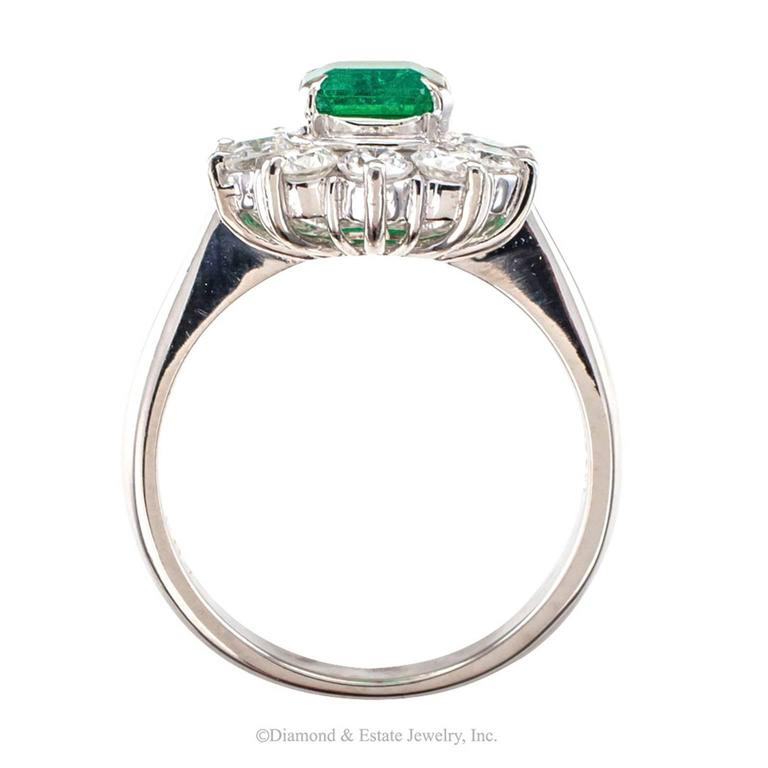 Contemporary Emerald Diamond Cluster Platinum Ring For Sale