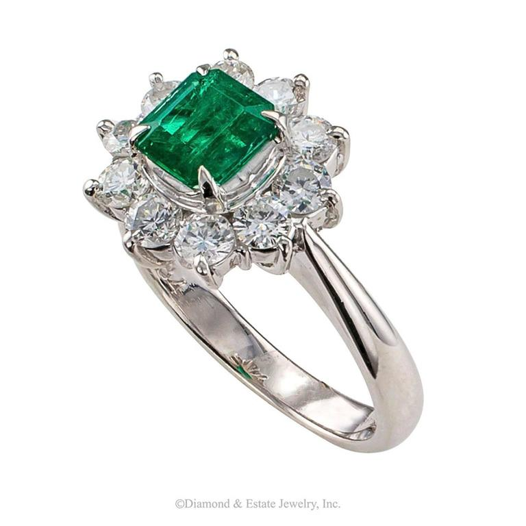 Women's Emerald Diamond Cluster Platinum Ring For Sale