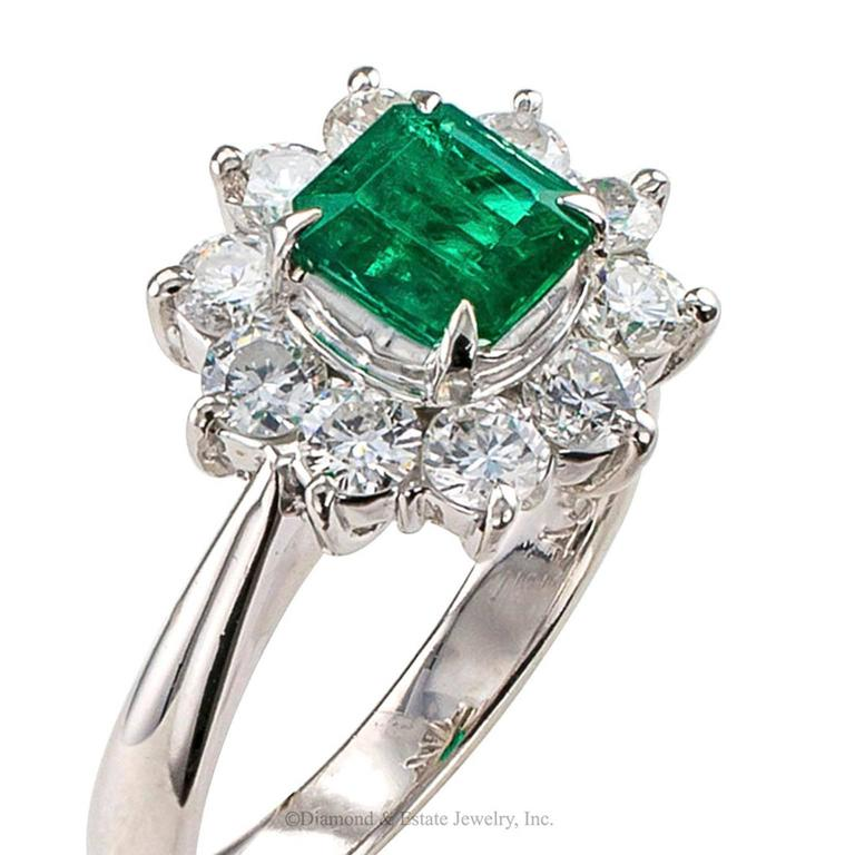 Emerald Diamond Cluster Platinum Ring For Sale 1