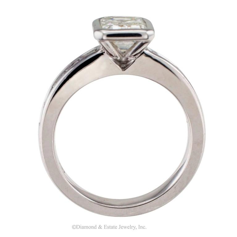 1.08 Carat Emerald Cut Diamond Engagement Ring 2