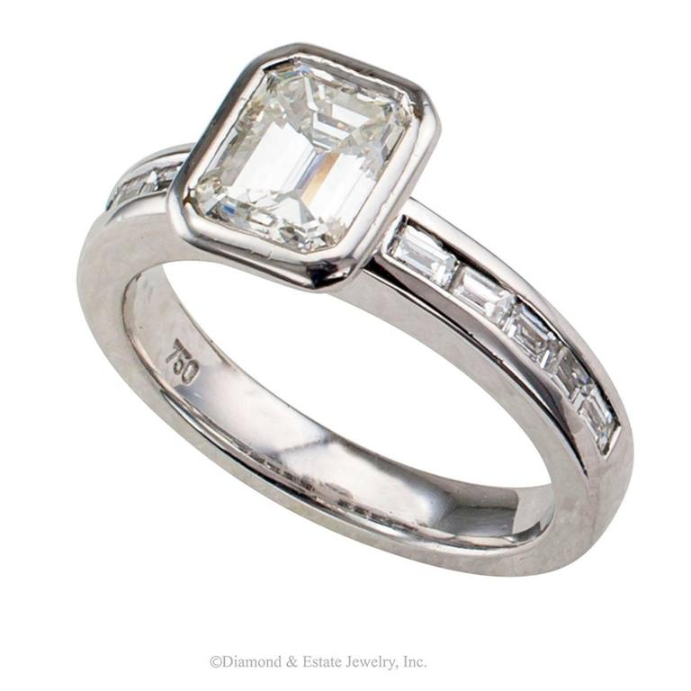 1 08 carat emerald cut engagement ring at 1stdibs