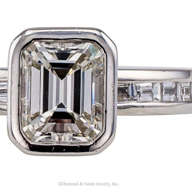 1.08 Carat Emerald Cut Diamond Engagement Ring 7