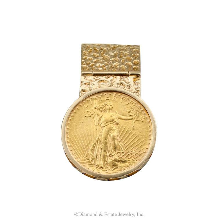 Saint gaudens twenty dollar gold coin money clip at 1stdibs for Dollar jewelry and more