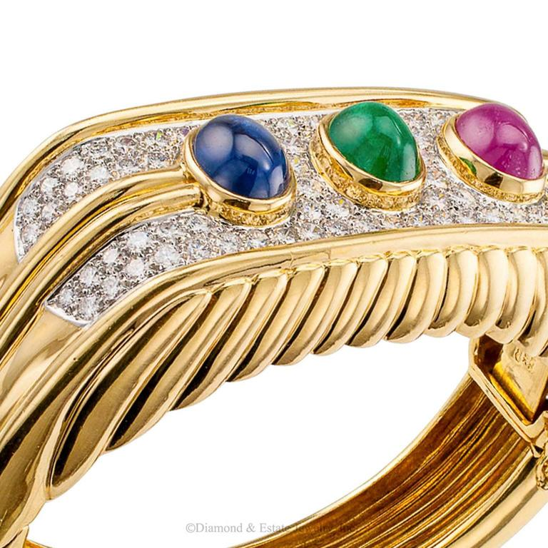 1980s Diamond Emerald Ruby Sapphire Gold Bangle Bracelet For Sale 1