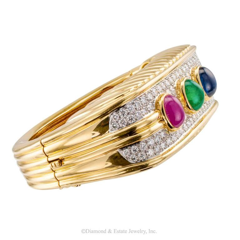 Contemporary 1980s Diamond Emerald Ruby Sapphire Gold Bangle Bracelet For Sale