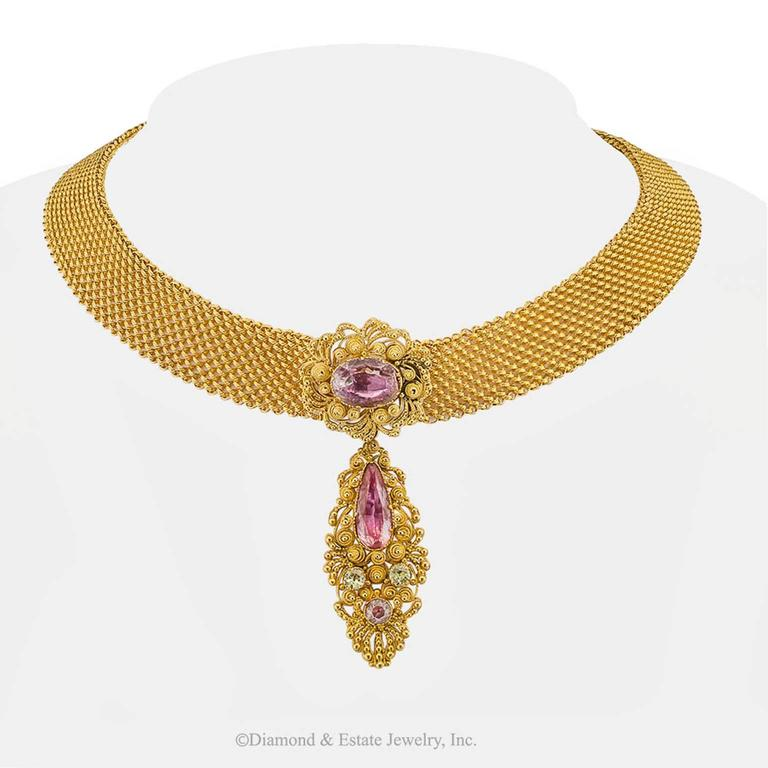Women's 1830s English Georgian Pink Topaz Cannetille Gold Choker For Sale