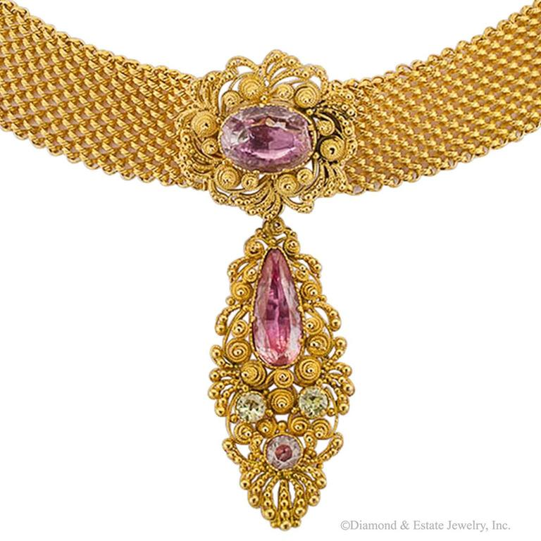 1830s English Georgian Pink Topaz Cannetille Gold Choker For Sale 2
