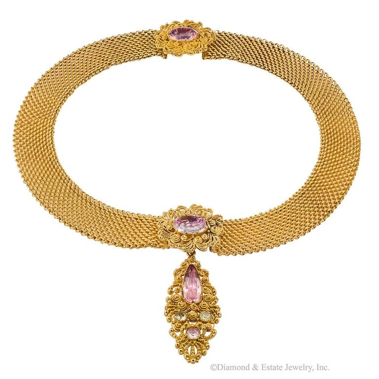 1830s English Georgian Pink Topaz Cannetille Gold Choker For Sale 1